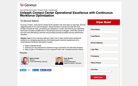 Screenshot of Landing Page genesys.com - Contact Center Operational Excellence   WFO Webinar   Genesys - captured Aug. 17, 2016