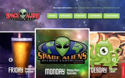 Screenshot of Home Page spacealiens.com - Space Aliens | Barbecue Ribs, Fire Roasted Pizza: Space Aliens Grill and Bar - captured Oct. 29, 2018