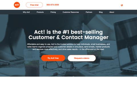 Screenshot of Home Page act.com - Act! Contact Management Software - captured Sept. 6, 2016
