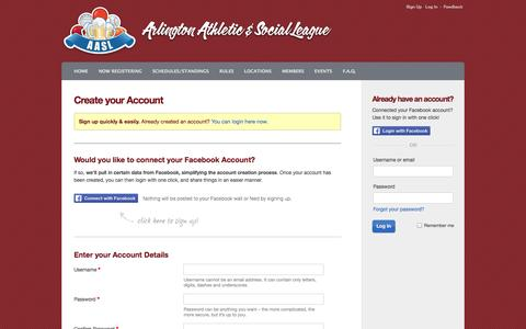 Screenshot of Signup Page playaasl.com - DC Social Sports Club @ Arlington : Sign Up - captured Oct. 4, 2014