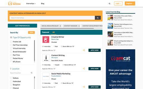 Screenshot of Press Page letsintern.com - Media Internships In India | Media Internships 2017 - Letsintern - captured June 20, 2017
