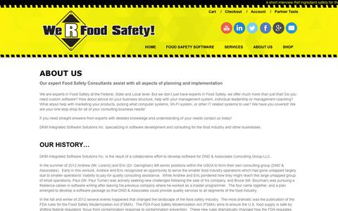Screenshot of About Page werfoodsafety.com - Expert Food Safety Consulting, Planning & Implementation | We R Food Safety - captured Oct. 29, 2014
