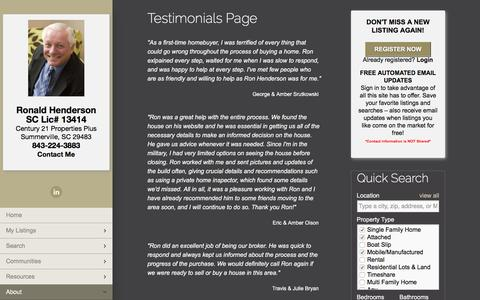 Screenshot of Testimonials Page charlestonexpert.com - Testimonials Page   Ron Henderson   843-224-3883   Charleston SC Real Estate and Homes for Sale - captured July 2, 2018