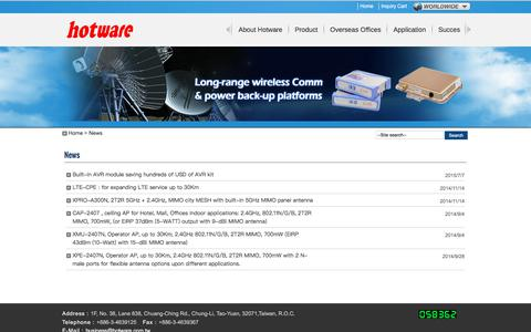 Screenshot of Press Page hotware.com.tw - Long Range WiFi & DC-AC Energy Solutions Manufacturer – HotWare Int'l Co., Ltd. - captured Sept. 17, 2017