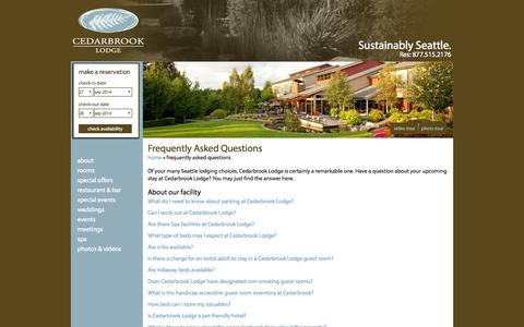 Screenshot of FAQ Page cedarbrooklodge.com - Frequently Asked Questions - captured Sept. 29, 2014