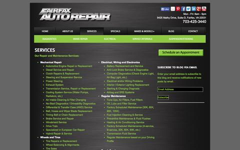 Screenshot of Services Page fairfaxautorepair.com - Car Maintenance Service by Fairfax Auto Repair in Virginia - captured Sept. 30, 2014