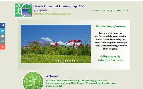 Screenshot of Home Page koveslawnandlandscaping.com - Kove's Lawn and Landscaping Home - captured Oct. 6, 2014