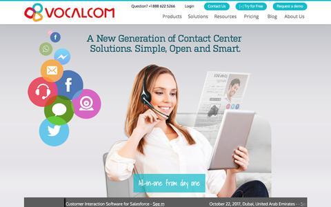 Screenshot of Home Page vocalcom.com - Contact Center Software Solutions | Vocalcom - captured Oct. 22, 2017