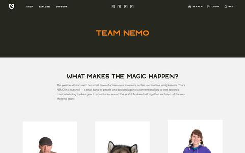 Screenshot of Team Page nemoequipment.com - Team NEMO  | NEMO Equipment - captured Oct. 18, 2018