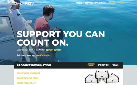 Screenshot of Support Page openrov.com - Support | OpenROV - captured Nov. 8, 2018