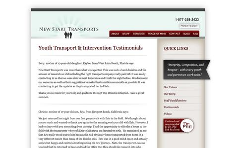 Screenshot of Testimonials Page newstarttransports.com - Testimonials of Troubled Youth and Teen Transport Intervention Services | New Start Transports - captured Oct. 26, 2014
