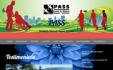 Screenshot of Testimonials Page passpdx.com - Testimonials – PASS - captured Sept. 25, 2018
