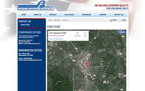 Screenshot of Maps & Directions Page bankersbms.com - Directions | Bankers BMS - captured Oct. 6, 2014