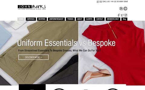 Screenshot of Home Page uniformsbyjohnmarks.com - Uniforms by John Marks / Homepage - captured Nov. 4, 2017