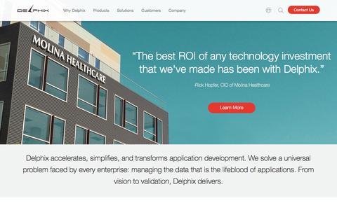 Screenshot of Home Page delphix.com - Data Virtualization and Data Masking Solutions | Delphix - captured Jan. 14, 2017