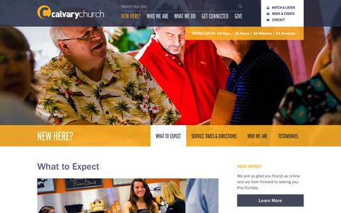 Screenshot of About Page calvarychurchfl.com - What To Expect | Calvary Church Jupiter - captured Oct. 1, 2014