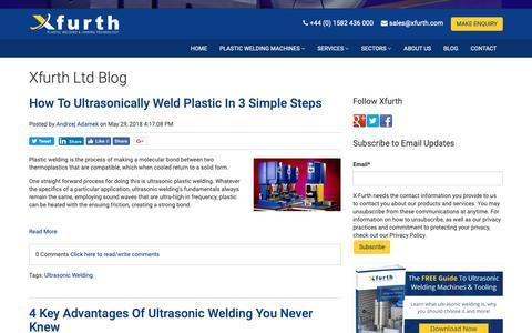 Screenshot of Blog xfurth.com - Xfurth Ltd Welding Blog - captured Oct. 18, 2018
