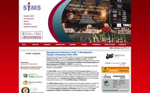 Screenshot of Home Page shivaims.edu.in - Management Institute in India � Top Management Institute in India, Management College in Ghaziabad, Delhi, NCR - captured Oct. 6, 2014