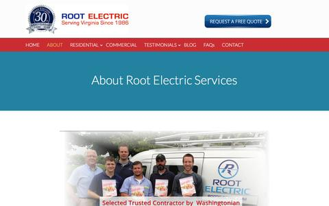 Screenshot of About Page rootelectric.com - About Root Electric Services - Root Electric Services - captured Dec. 20, 2016