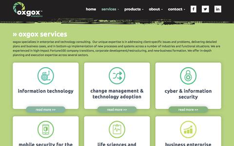 Screenshot of Services Page oxgox.com - » oxgox services - captured Oct. 18, 2017