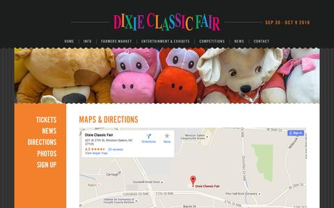 Screenshot of Maps & Directions Page dcfair.com - Maps & Directions - Dixie Classic Fair - captured Feb. 9, 2016
