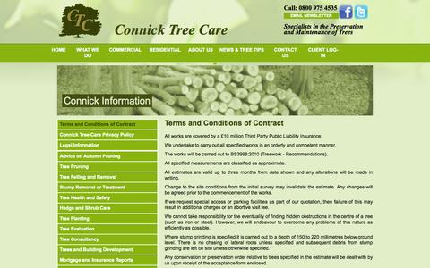Screenshot of Terms Page connicktreecare.co.uk - Terms & Conditions - captured Sept. 30, 2014