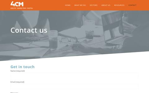 Screenshot of Contact Page 4cm.co.uk - Contact 4CM - B2B PR, marketing and digital content creation - captured June 11, 2017