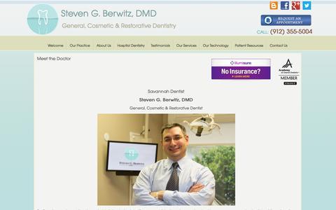 Screenshot of About Page stevenberwitzdmd.com - Meet the Doctor in Savannah | Richmond Hills, GA Meet the Doctor | Bluffton, SC  Dentist - captured Oct. 7, 2014