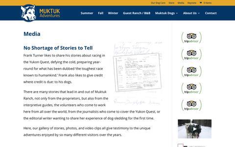 Screenshot of Press Page muktuk.com - Media | Muktuk Adventures Sled Dog Adventures - captured Oct. 19, 2018