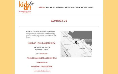 Screenshot of Contact Page kidsandart.org - Contact Us — Kids and Art Foundation - captured Oct. 17, 2017
