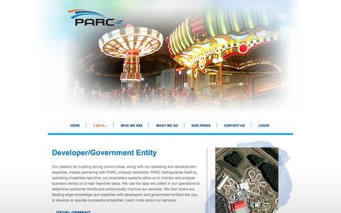 Screenshot of Developers Page parcentertainment.com - Developer/Government Entity | Parc Entertainment - captured Oct. 1, 2014