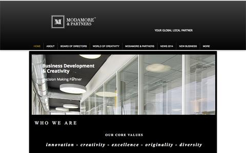 Screenshot of Home Page modamore-partners.com - MODAMORE & PARTNERS GLOBAL BRANDS AND MANAGEMENT - captured Oct. 3, 2014
