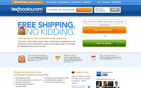 Screenshot of Home Page textbooks.com - Textbooks | Used Textbooks | Cheap Textbooks at Textbooks.com - captured Sept. 23, 2014