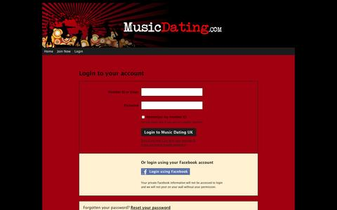 Screenshot of Login Page musicdating.com - Music Dating UK :: Login - captured Oct. 4, 2014