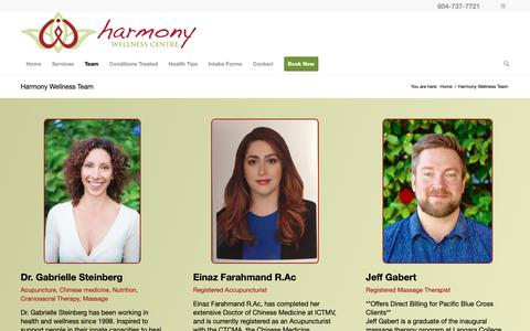 Screenshot of Team Page harmonywellness.ca - Harmony Wellness Team - Harmony Family Wellness Centre - captured Sept. 27, 2018