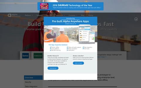 Screenshot of Home Page alphasoftware.com - Build Web and Mobile Apps Fast | Alpha Software - captured Feb. 16, 2016