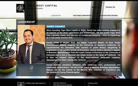 Screenshot of Team Page tigerwestcapital.com - Tiger West Capital LLC | LEADERSHIP - captured Oct. 24, 2017