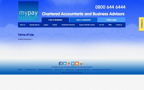 Screenshot of Terms Page mypayaccounting.co.uk - Terms of Use   MyPay Accounting - captured Sept. 30, 2014