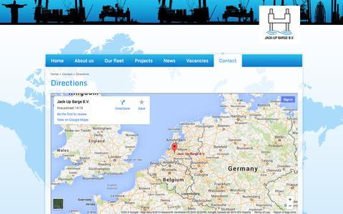 Screenshot of Maps & Directions Page jackupbarge.com - Directions - Jack-Up Barge - Marine services worldwide - captured Oct. 6, 2014