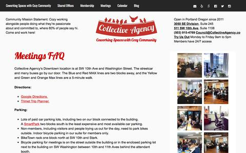 Screenshot of FAQ Page collectiveagency.co - Meetings FAQ   Portland's coworking spaces with cozy community: Collective Agency - captured July 20, 2018