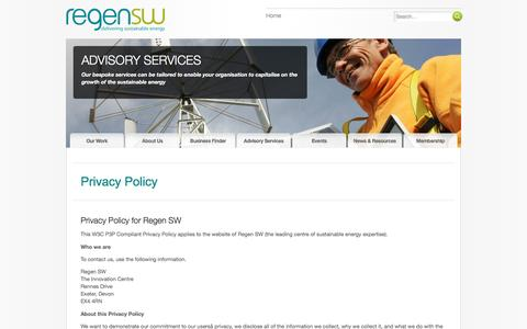 Screenshot of Privacy Page regensw.co.uk - Privacy Policy | Regen SW - captured Aug. 13, 2016