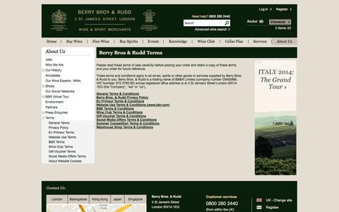 Screenshot of Terms Page bbr.com - Berry Bros & Rudd Wine Merchants -  Terms - captured Sept. 19, 2014