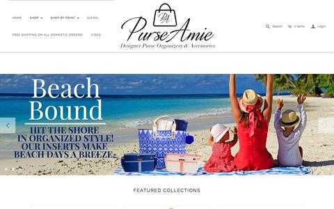 Screenshot of Home Page purseamie.com - Designer Purse Insert Organizer - PurseAmie - captured July 9, 2018