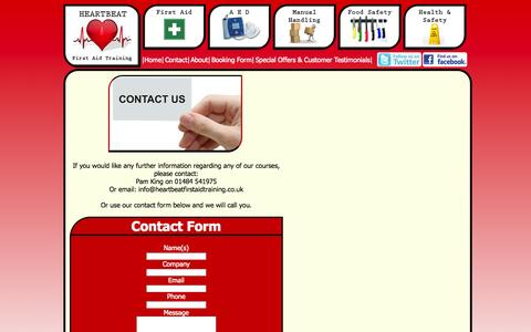 Screenshot of Contact Page heartbeatfirstaidtraining.co.uk - Heartbeat First Aid Training in West Yorkshire - Contact us - captured Sept. 29, 2014