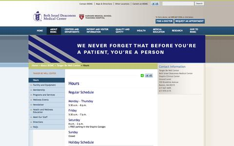 Screenshot of Hours Page bidmc.org - Hours | Beth Israel Deaconess Medical Center - captured June 16, 2015
