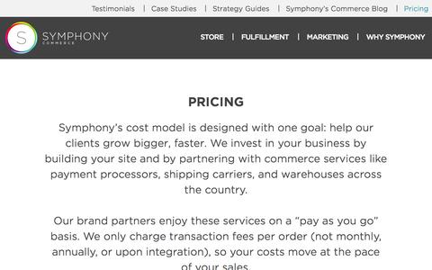 Screenshot of Pricing Page symphonycommerce.com - Get Pricing for Symphony Commerce - captured Sept. 17, 2014