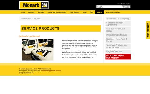 Screenshot of Services Page monark-cat.com - Services - captured Oct. 26, 2014