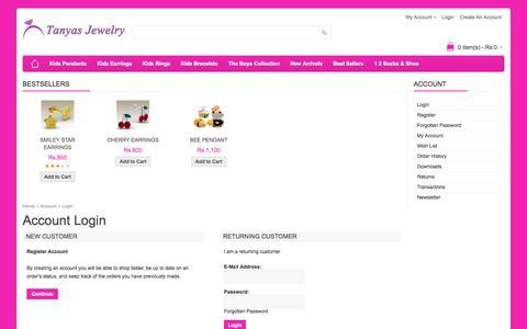 Screenshot of Login Page tanyasjewelry.com - Account Login - captured Sept. 17, 2014