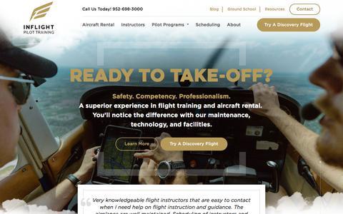 Screenshot of Home Page inflightpilottraining.com - Inflight Pilot Training - The Twin Cities Best Flight School - captured Sept. 13, 2018
