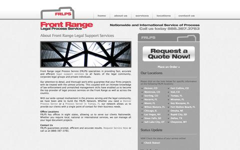 Screenshot of About Page frlps.com - About Front Range Legal Support Services | Process Servers - Front Range Legal Process Service - captured Oct. 6, 2014